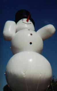Giant helium snowman balloon for parades and events.